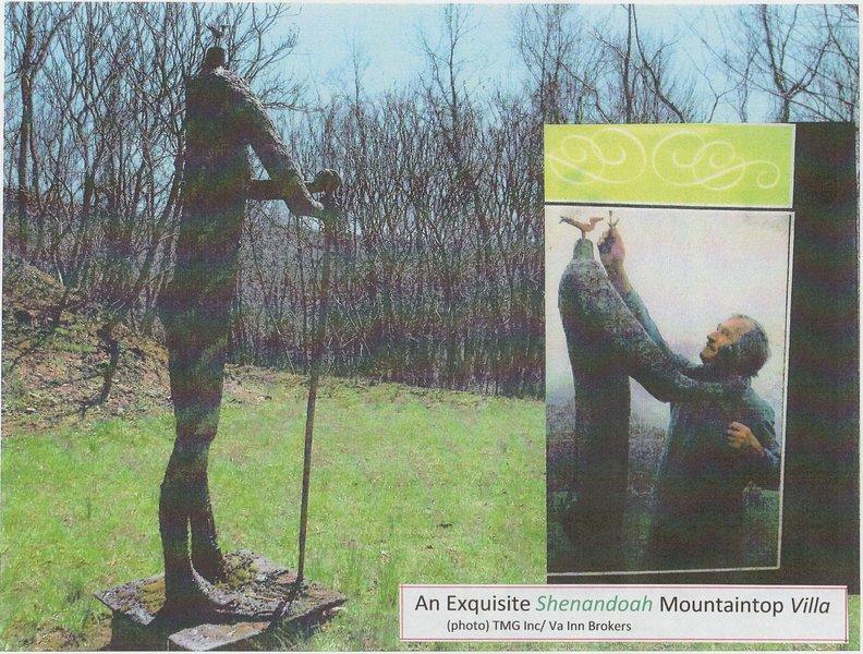 """""""Poeten"""" (yttre skulptur, metall / fiberbelagd 9 '/ 1974) av Robert E. Kuh, (ett """"fågelhuvud"""""""