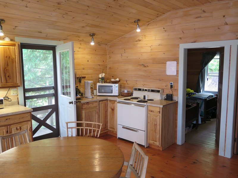 Kingfisher's combination living room/kitchen is recently remodeled, and close to the lake and beach.