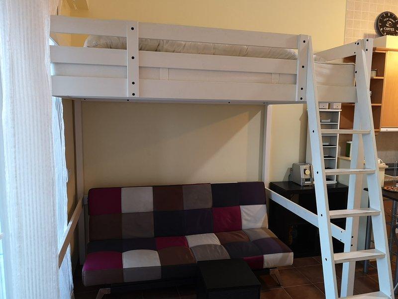 Cama doble alta y debajo sofá cama