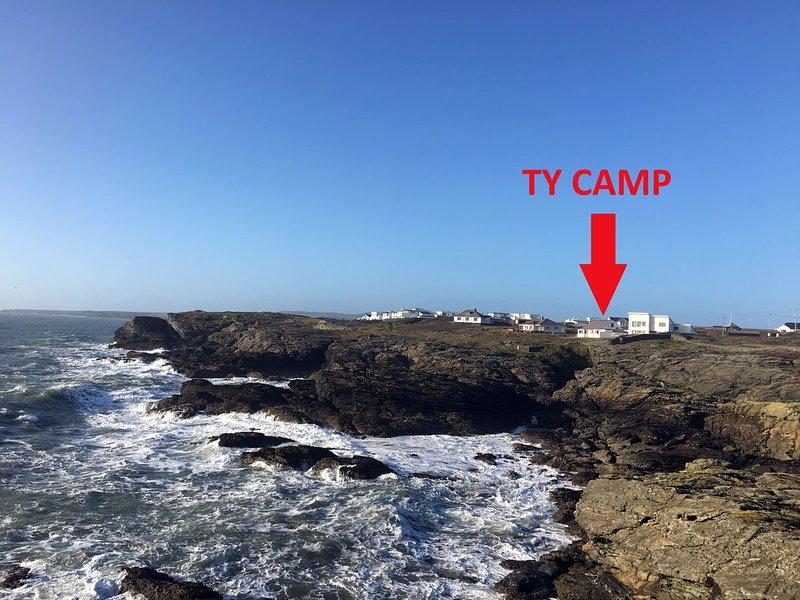 Splendid position on the headland Ty Camp has dramatic views