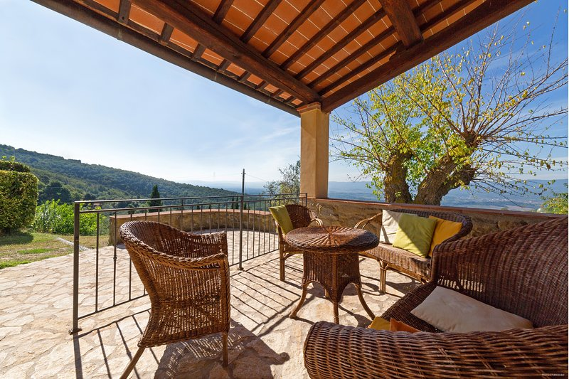 'Loggiato' farmhouse apt, 1 bdr - 2/4p, pool, garden, pvt terrace, stunning view, holiday rental in Loro Ciuffenna