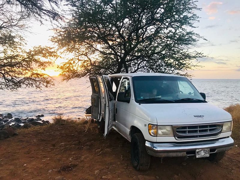 Whitey Ford campervan, vanlife maui at sunset on the beach.