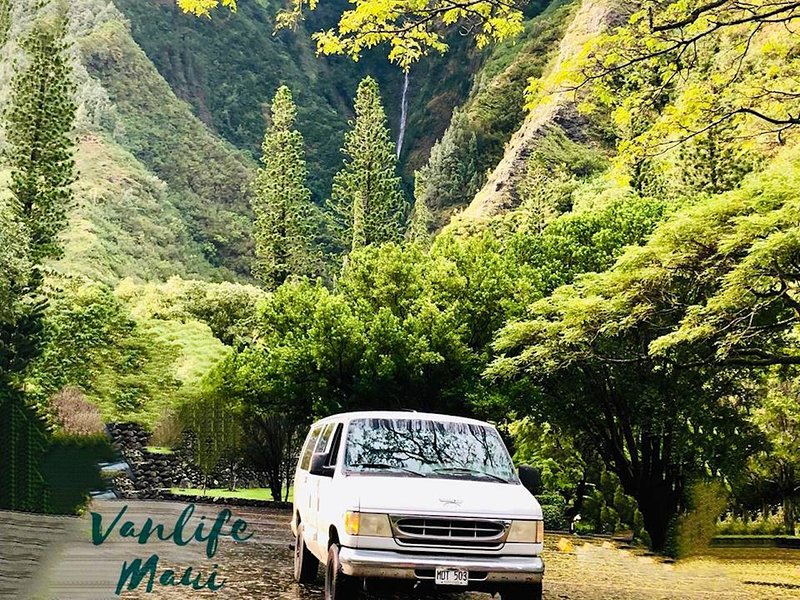 Whitey Ford campervan on the road, this is vanlife Maui