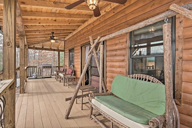 Your favorite spot will be the covered deck, complete with rustic patio seating.