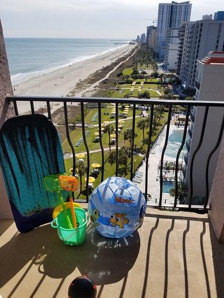 A variety of beach toys . . .