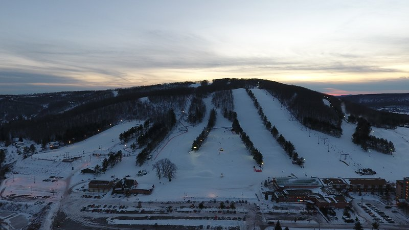 The ski slopes at night