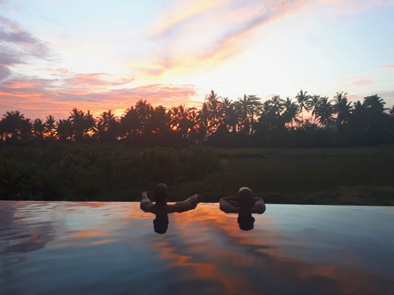 sunset in the pool