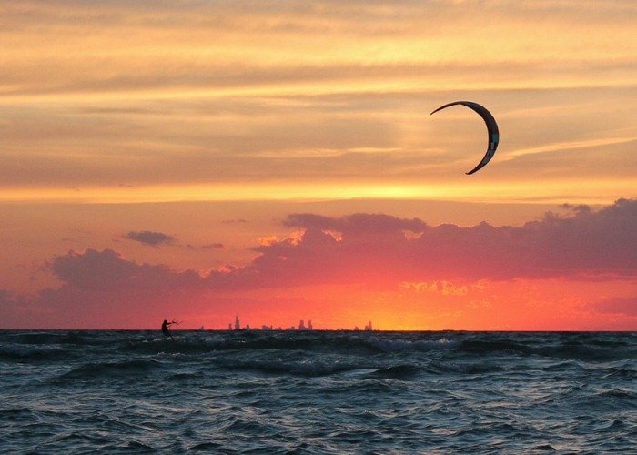 Sunsets are spectacular in Michigan city & you can often catch a glimpse of Chicago in the distance