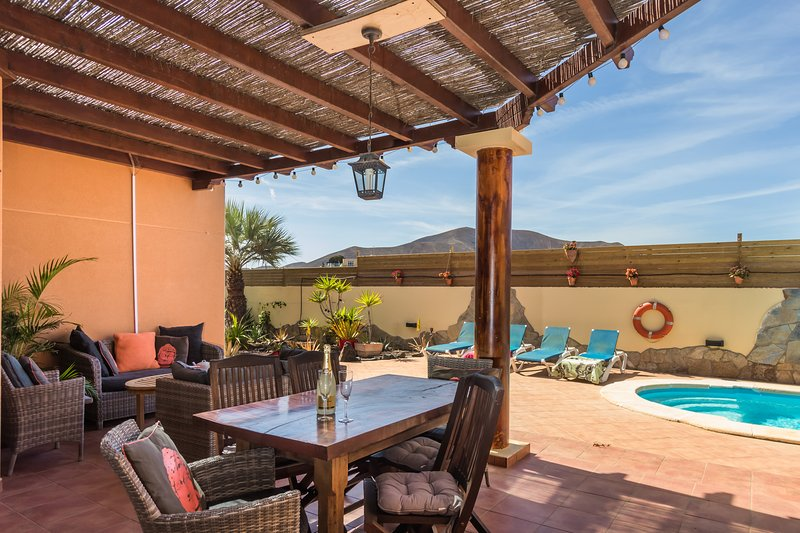 Detached spacious villa with sunny terraces and private pool and relaxing outside space