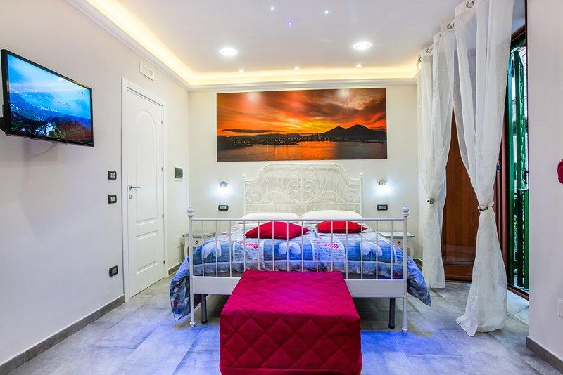 stanza Vesuvio ,aria condizionata frigo ,tv schermo piatto e bagno privato,lenzuola e kit bagno