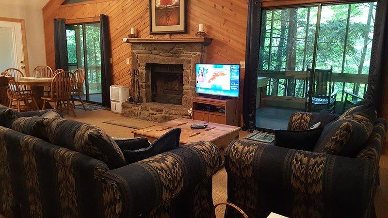Woodland's Cabin, vardagsrum med öppen spis