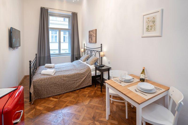Woonkamer met kitchenette en een tweepersoonsbed