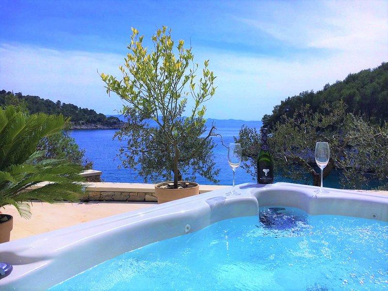 Stone Villa with Jacuzzi & Private Beach Island Brac Croatia, holiday rental in Milna