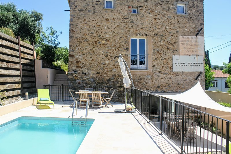 View from pool of The High House and The Cellar