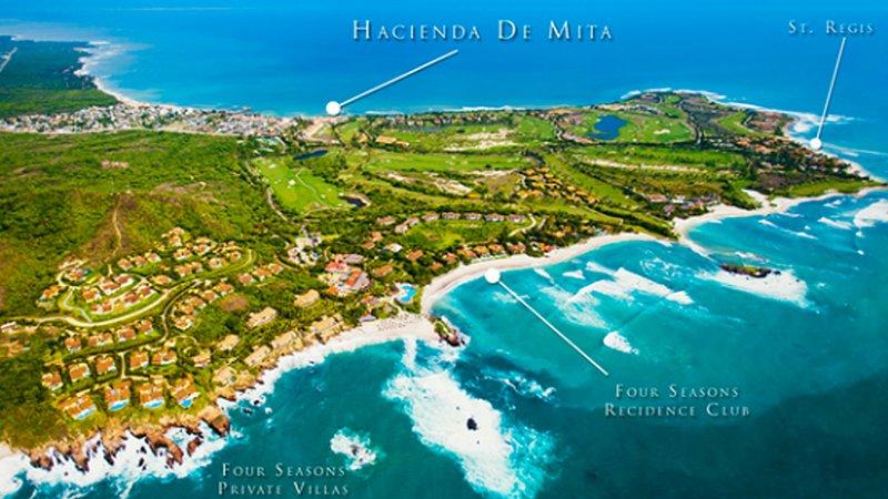 Vue aérienne de Punta Mita Private Resort - 2500 acres avec 9,5 miles de plage