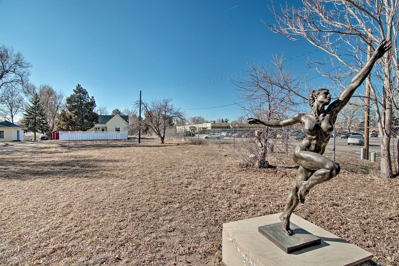 Admire the homeowner's sculptures across the property!