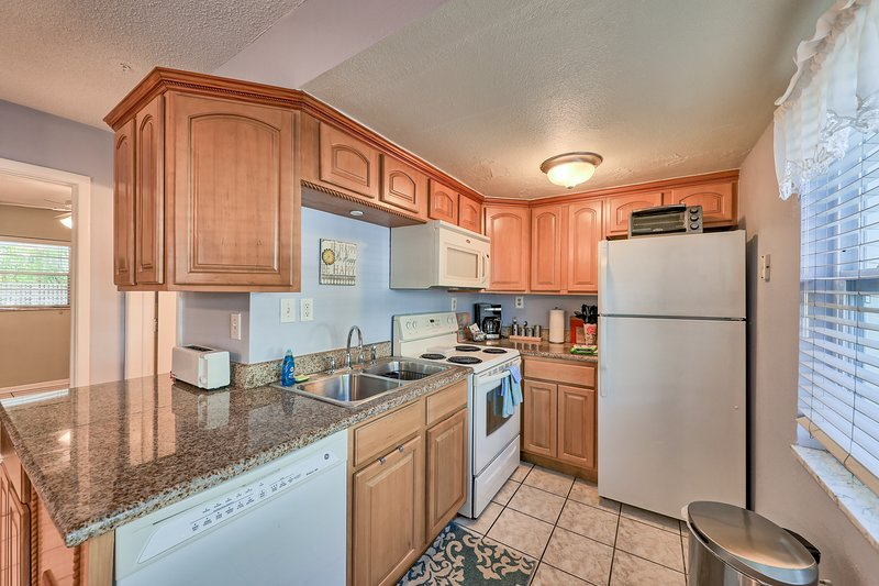 Well appointed kitchen with many small appliances
