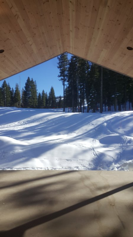 View of the ski run from the deck.
