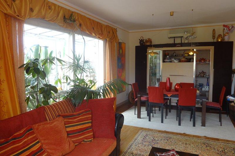 Sala de estar y mesa de comedor.