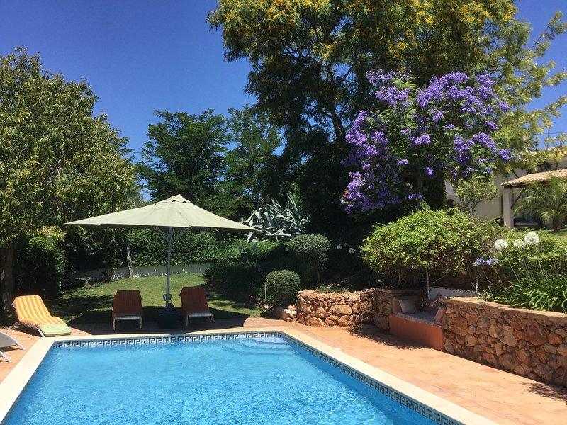Área de piscina y jardín