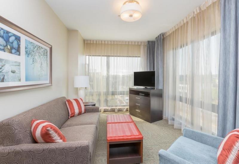 Salon joliment décoré, avec un canapé-lit pour dormir!