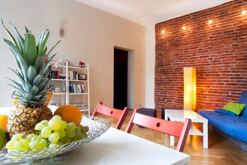 Spacious living room with originally preserved brick wall, folded sofa and 42 inch flat TV.