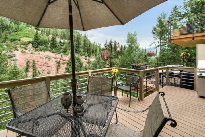 Grilling dinner on the deck will be a highlight of your trip when you soak in the views and the sound of the rushing creek below.