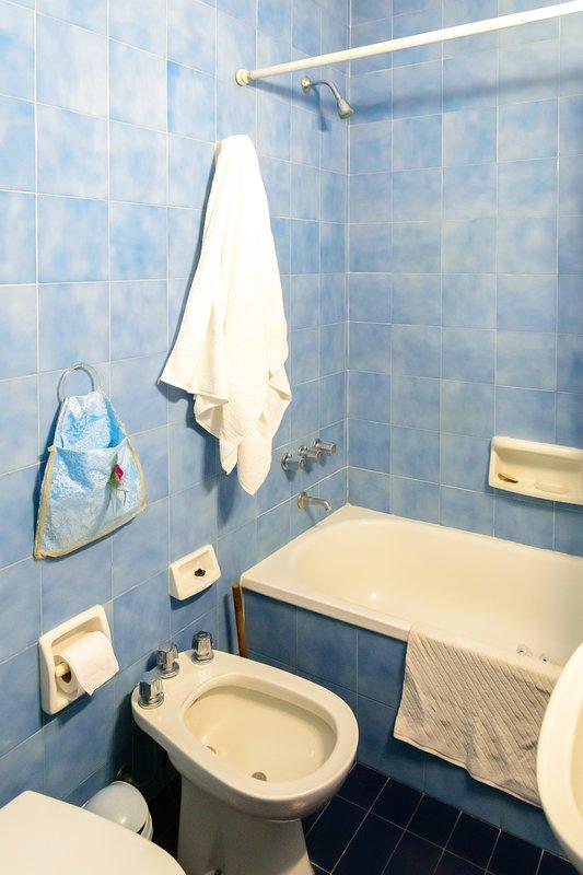 Full bathroom with shower and bathtub