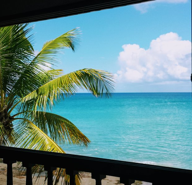 Private balcony view overlooking Caribbean Sea!