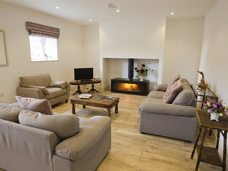 The fabulous living area with woodburner