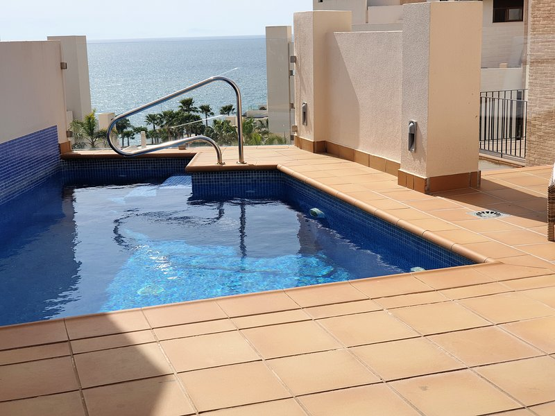 Outdoor swimming pool overlooking the sea.