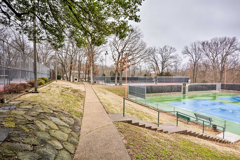 Play tennis on the community courts.