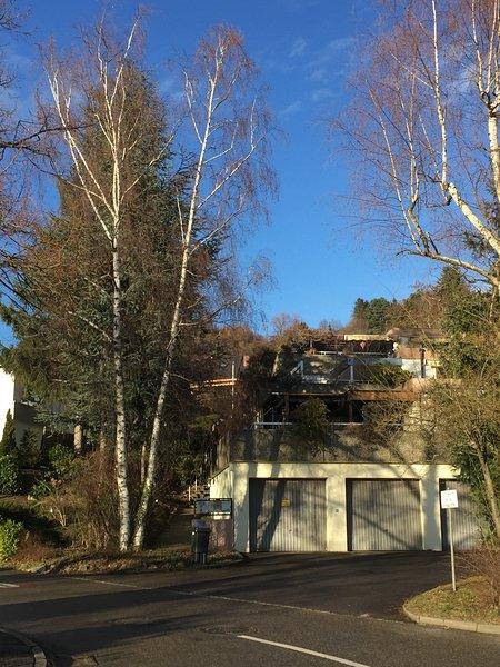 Aangekomen bij Lörracher strasse bij onze dubbele parkeerplaatsen onder {B & B onder de dennenbomen}