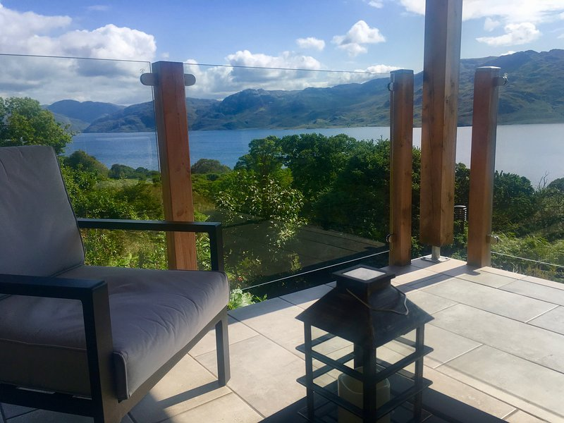 Covered seating area overlooking Loch Morar