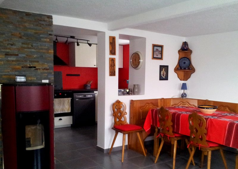dining area - kitchen view - pellet stove