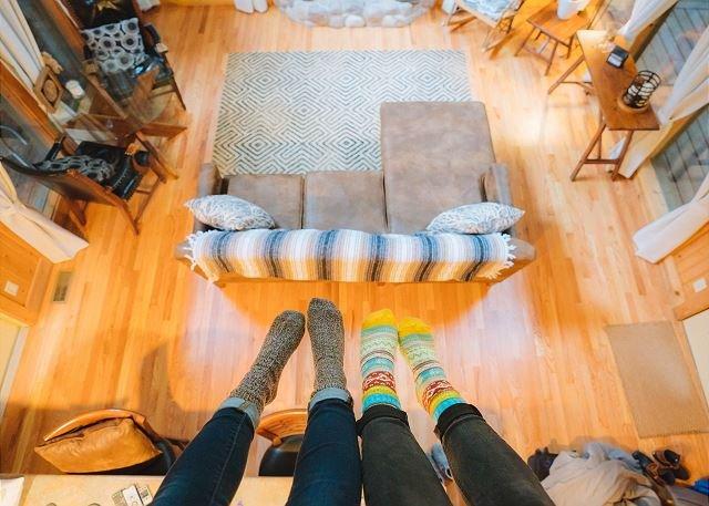 Sala de estar de la cabina del barranco