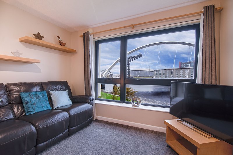 Lounge con probabilmente la migliore vista a Glasgow!