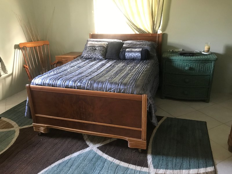 Guest bedroom with a full size bed and walk in closet.