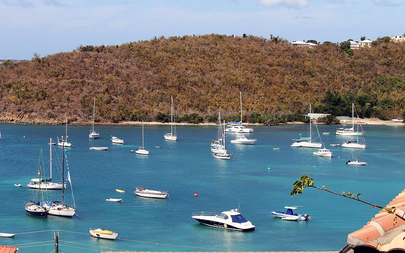 Great view of Cruz Bay with boats and water