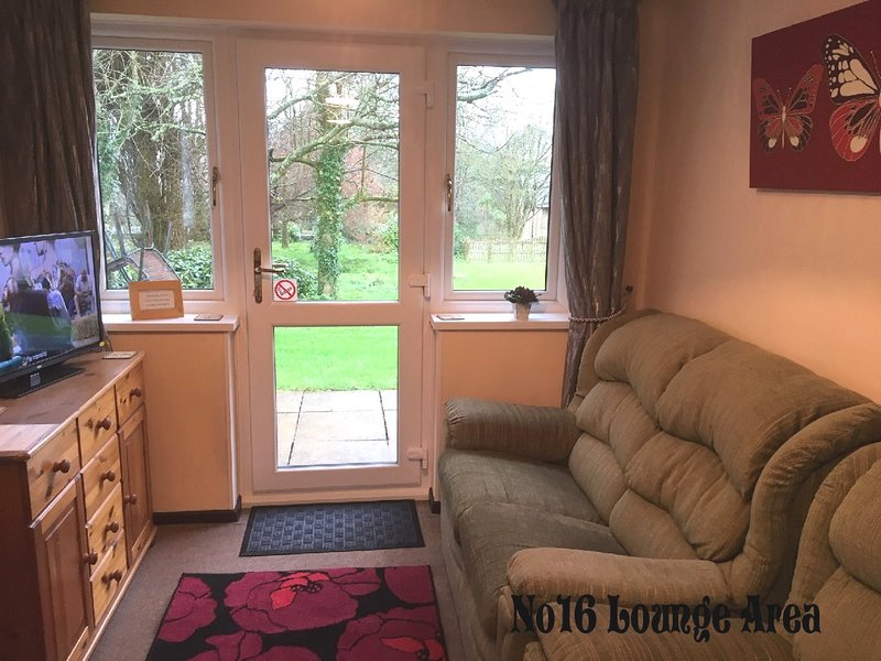 This is the living area with tv/dvd and a view of gardens from window.