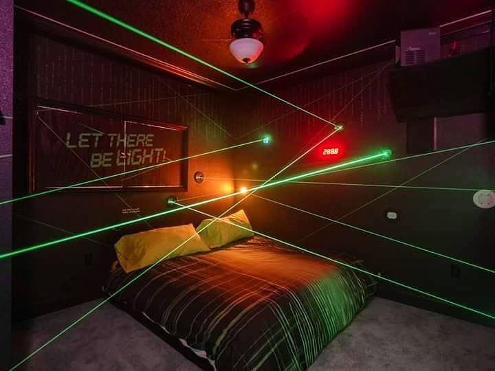 an actual LASER MAZE bedroom