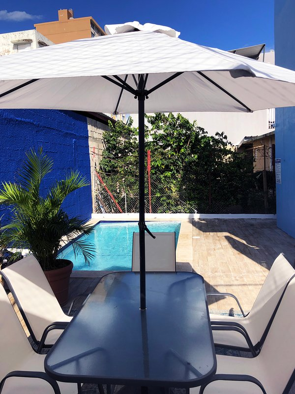 View to the pool area. Our beautiful pool is in common use and is available to guests