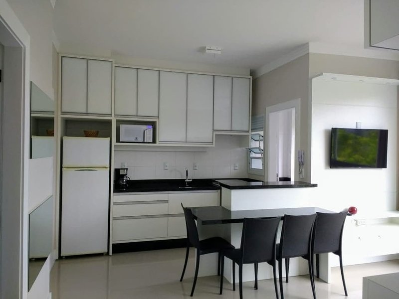 Elegant apartment, full kitchen, living room and laundry area with washing machine