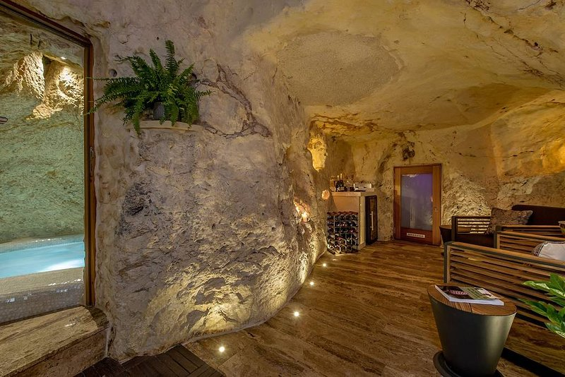 Underground cave/winery relaxation area.