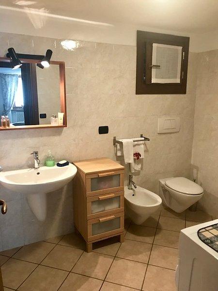 Bathroom with shower, hairdryer and washing machine
