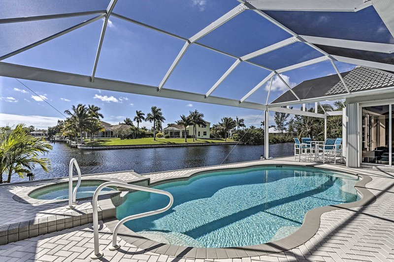 The canalfront backyard serves as your private oasis.