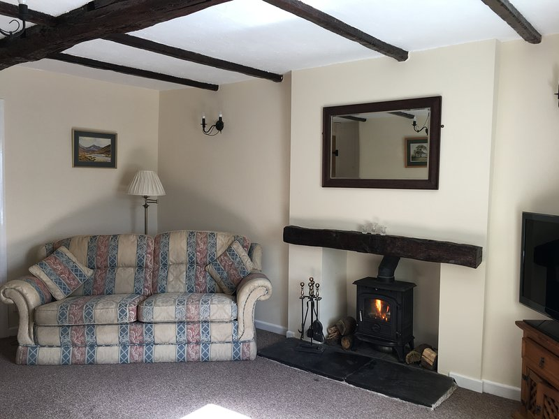 Character living area with seating for 6, with wooden beams and log burner