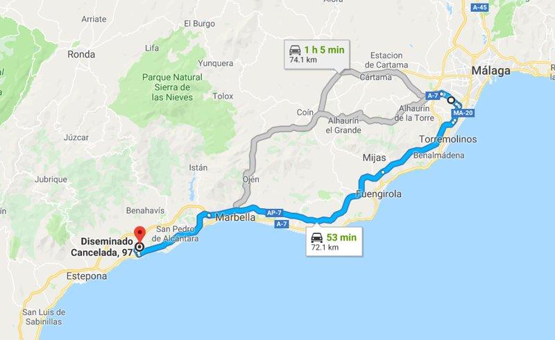 MAPA DEL AEROPUERTO DE MALAGA 72 KM