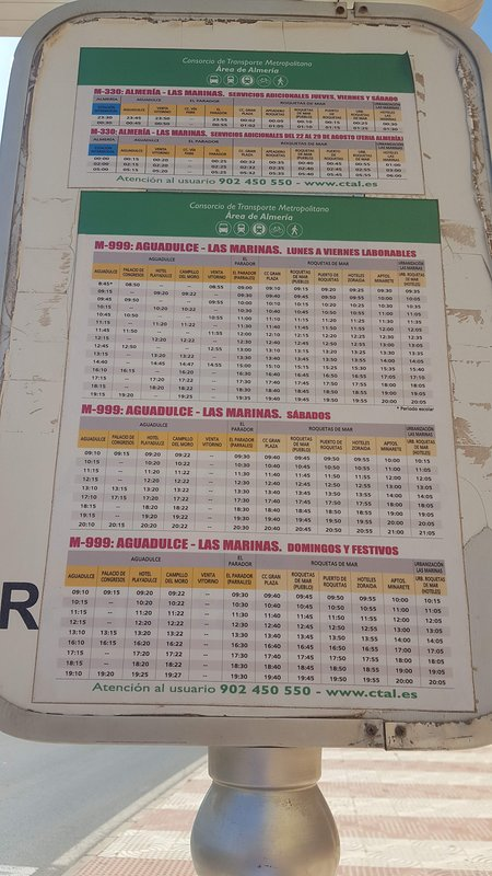 Bus timetable from Aquadulce to Last Marinas stopping en route at Gran Plaza shopping mall.