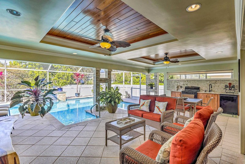 This vacation rental villa offers a unique outdoor living space & private pool
